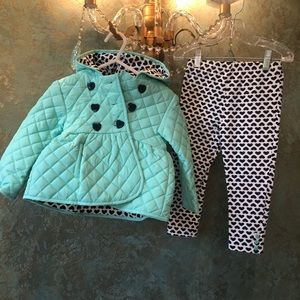 NWOT! Little Me Quilted Coat/Leggings Set Hearts